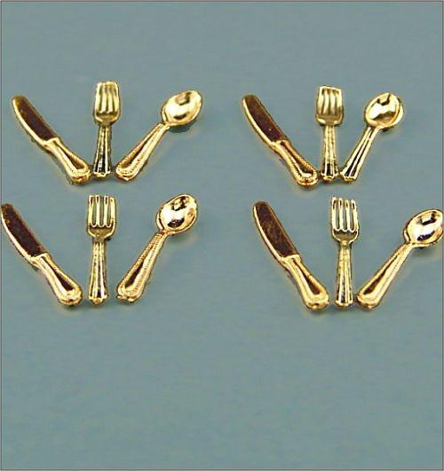 Reutter Miniaturen - Besteck Gold 1.918/0 Messer Gabel Löffel Speisebesteck