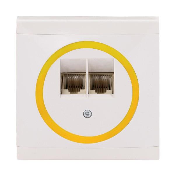 REV Ascoli weiß/gelb ISDN-Dose Netzwerk-Dose Dose inkl. Rahmen 928204