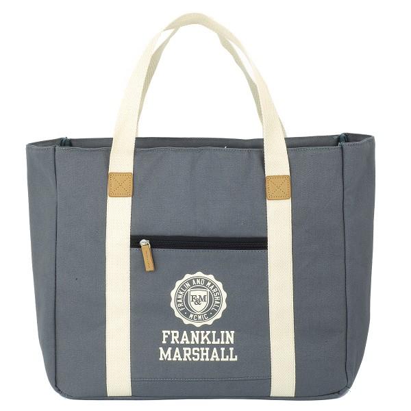 Franklin and Marshall - Shopper Grau Umhängetasche Einkaufstasche Freizeittasche