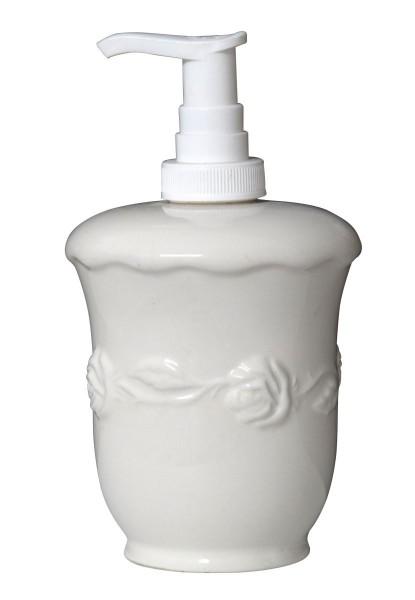 Ib Laursen - Pumpseifenspender Weiß Rosendekor Keramik (1966-11) Seifenspender