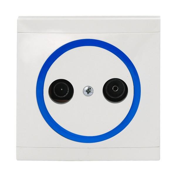 REV Ascoli weiß/blau Antennen-Dose TV/RF Dose inkl. Rahmen 922104