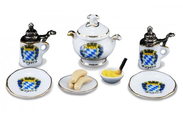 Reutter Porzellan Miniaturen - Weisswurst Frühstück Bayern (1.800/6) Puppenstube