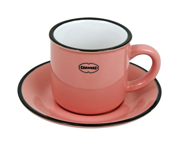Cabanaz - Espressotasse mit Unterteller Pink 1201706 Mokkatasse Moccatasse Retro