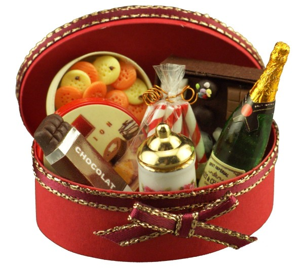 Reutter Miniaturen - Geschenkbox gefüllt (1.409/6) Geschenkkorb Puppenstube